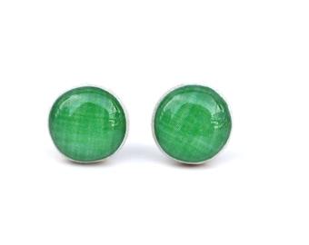 Kermit green linen stud earrings, wooden green post earrings, green studs eco friendly jewelry, wood earrings, minimalist jewelry