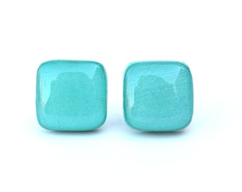 Blue earrings, blue square studs, blue studs, square post earrings, wood earrings, eco friendly studs
