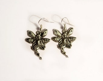 Fairy Earrings Fairy Charm Dangle Earrings Antique Silver Lead free Pewter