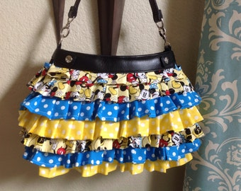 Custom made ruffled Suite purse cover mickey inspired design cover handmade thirty one