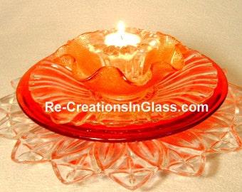 Glass flower.  Candle holder.  Centerpiece.