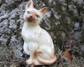 Vintage Cat Figurine Porcelain Siamese Cat