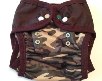 Little Camo Reusable Swim Diaper, camo leg gussets and brown FOE (M-L) Made to order