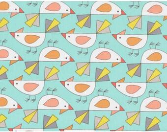 Birds Of A Feather by Mark Hordyszynski for Michael Miller - Tweet - Aqua & Coral - 1/2 yard cotton quilt fabric 516