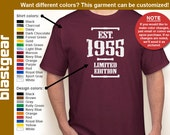 Est. 1955 (or any year) Limited Edition 60th Birthday T-shirt — Any color/Any size - Adult S, M, L, XL, 2XL, 3XL, 4XL, 5XL