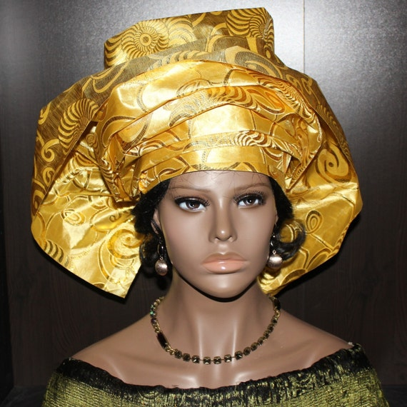 Pret a porter pre made african gele headwrap head tie for Pre a porter