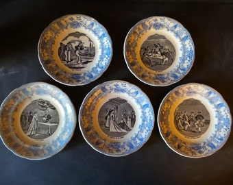 Antique French Wedding Plates from Gien .Set plates.  Wedding theme.Paris apartment.Wall hanging . Decorative Plates