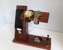 Iphone Stand with Mens Valet Men Watch Holder- Men Watch Stand - Watch Display Iphone Dock - Ring Holder