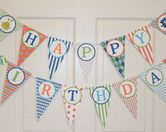 LITTLE MONSTER  Happy Birthday or Baby Shower Party Banner Blue Orange Green - Party Packs Available