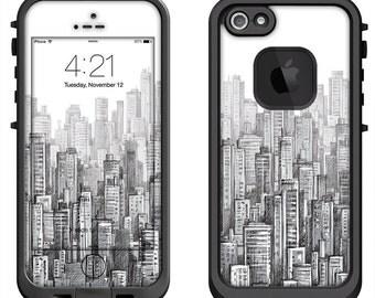 Lifeproof iPhone 6 Fre, LifeProof iPhone 5 5S 5C Fre Nuud, Lifeproof iPhone 4 4S Fre Case Decal Skin Cover - Skyscraper Pattern