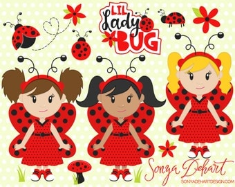 60% OFF SALE Ladybugs Clipart, Spring Clipart, Ladybug Clipart, Lady Bug Clipart, Spring Clip Art, Girl Clipart, CA208
