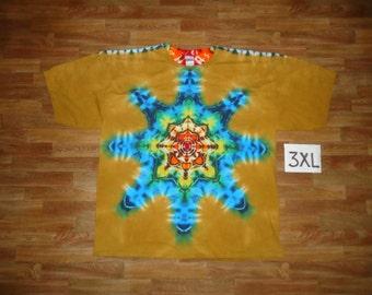 Tie Dye T-Shirt ~ Rainbow/Palomino Gold Mandala 05459 3XL