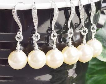 Pearl Bridesmaid Earrings SET OF 3 - 5% OFF Cream Pearl Earrings - Swarovski Pearl Drop Earrings - Pearl Bridesmaid Jewelry - Wedding
