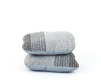 Rock shaped pillow - soft knitted wool/leather pillow, grey