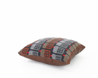 House Rows. Large wool / leather pillow - 20x20