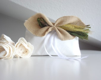 Wedding pillow, ring pillow with burlap bow for country wedding - OOAK