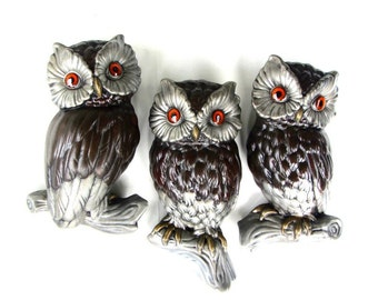 Large Size Owl Family Plaster Ware Set 3D Mother Owl and Owlets Give A Hoot 1970s Retro Hoot Culture Decor Owl Lover Gift