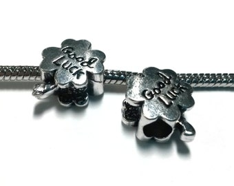 3 Beads - Good Luck Four Leaf Clover Silver European Charm Bead E1371