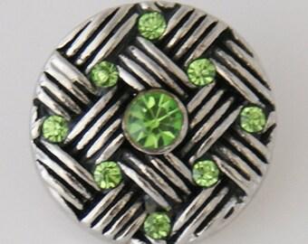 1 PC 18MM Green Basketweave Rhinestone Silver Snap Candy Charm KB7545 Cc0179
