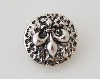 1 PC - 12MM Fleur De Lis Silver Charm for Candy Snap Jewelry KB6591 Cc0251