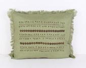 Pillow cover, Decorative pillow, Decorative Throw Pillow Covers , Linen pillow cover, Home Decor, orchid, Flower ,Green.