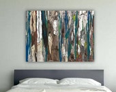 Extra LARGE wall Art canvas bedroom wall decor oversized artwork tree blue teal brown abstract landscape dining living room modern print
