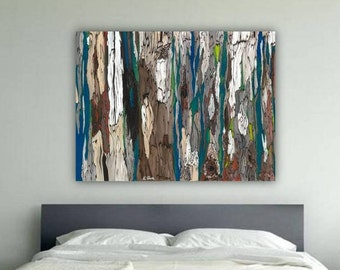 huge masculine Extra LARGE wall Art canvas bedroom decor oversized artwork tree blue teal brown abstract landscape dining living room modern