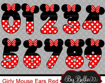 Minnie Mouse clipart numbers clip art Red and Black clip art