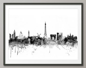 Paris Skyline, Paris France Cityscape Art Print (1429)