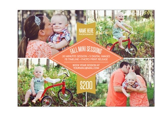 INSTANT DOWNLOAD - Fall Mini Session template - Photoshop template - E905