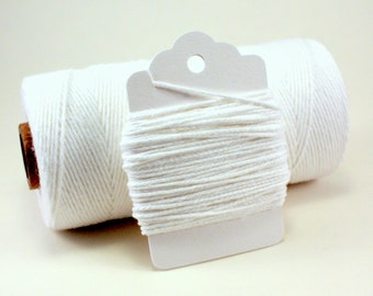 Solid White Twine . Bright White Divine Twine . 4-ply white string . While Cotton Twine . Solid white gift wrap . Choose Any Number of Yards