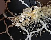 Bridal Headband ~ Golden headband accented with birdcage veiling and stunning rhinestone broach