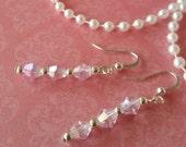 Crystal Earrings Soft Pink Crystal Dangle Earrings
