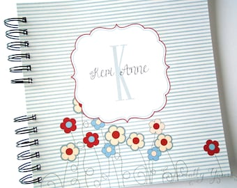 Baby Book |  Baby Memory Album | Red and Blue Flowers Personalized Wire Bound Baby Memory Book Keepsake Album