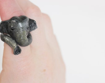 Elephant Wrapped-Trunk Ring - Handmade to Order