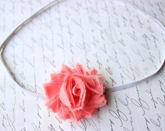 75% Off Coral Shabby Flower Headband/ Newborn Headband/ Baby Headband/ Flower Girl/ Wedding/ Photo Prop