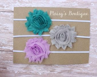 Set of 3- Teal, Grey and Pink Lavender Shabby Flower Headband Set/ Headband/ Newborn Headband/ Baby Headband/ Wedding/ Photo Prop