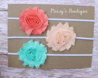 Set of 3- Coral, Baby Peach, Seafoam Green Flower Headband Set/ Headband/ Newborn Headband/ Baby Headband/ Wedding/ Photo Prop