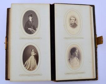 Hardinge Family Victorian Photograph Album Antique Photo Album Vintage Photo Album Leather Photograph Album with 17 CDV Photos