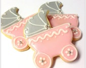 Baby Shower Cookies Baby Carriage Sugar Cookie Light Pink Iced Decorated Cookie Baby Shower Girl