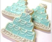 Blue Wedding Cake Sugar Cookie Favor Wedding Cake Iced Decorated Sugar Cookies Bridal Shower Favors