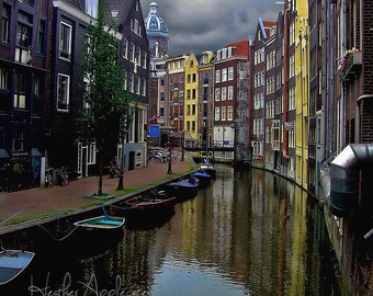 Print - Amsterdam Canal Houses - Color or Black & White - choose a size