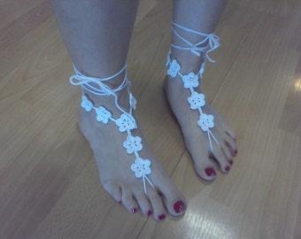 Seven Flowers Barefoot Sandal, Barefoot Sandals, Beach Wedding, Foot Thongs, Bridal barefoot Sandals