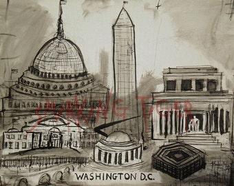 Washington DC Cityscape: Washington DC Skyline featuring The White House and Washington Monument, 11X14