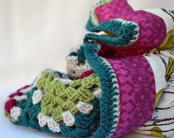 forest and deer crochet baby blanket, baby blanket, granny square baby blanket, reversible crochet blanket, afghan, travel blanket