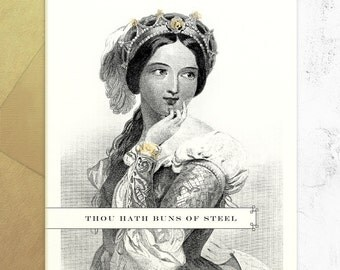 Sexy Birthday Card - Thou Hath Buns Of Steel - Valentines Day Card