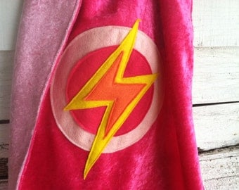 Super Girl Cape HOT PINK and PINK - Super Cape Costume - Kid Christmas Gifts