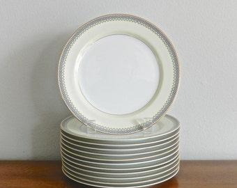 Vintage Porcelain Plates Greek Key China Dishes Salad Dessert Serving Plates Set of 6 or 12 Noritake Audrey Paris Apartment Tableware