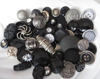 Black & Silver Vintage Button Collection - 46 unique buttons (1A)