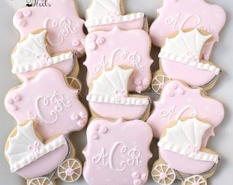 baby carriage baby shower cookies monogram cookies it 39 s a girl
